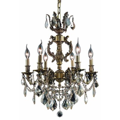 Canary 6-Light Crystal Chandelier Finish / Crystal Color / Crystal Trim: Antique Bronze / Clear / Strass Swarovski