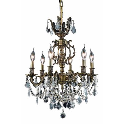 Canary 6-Light Crystal Chandelier Finish / Crystal Color / Crystal Trim: Antique Bronze / Crystal (Clear) / Elegant Cut