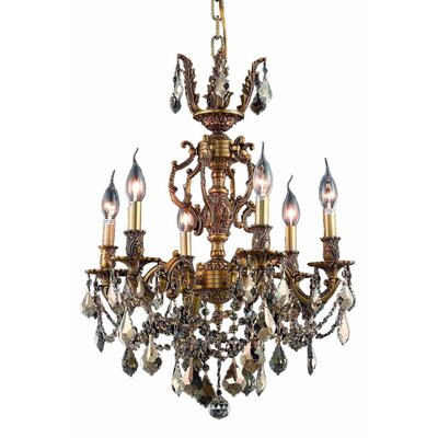 Canary 6-Light Crystal Chandelier Color / Crystal Color / Crystal Trim: French Gold / Golden Teak (Smoky) / Royal Cut