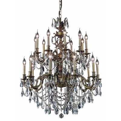 Canary 20-Light Crystal Chandelier Color / Crystal Color / Crystal Trim: French Gold / Crystal (Clear) / Spectra Swarovski