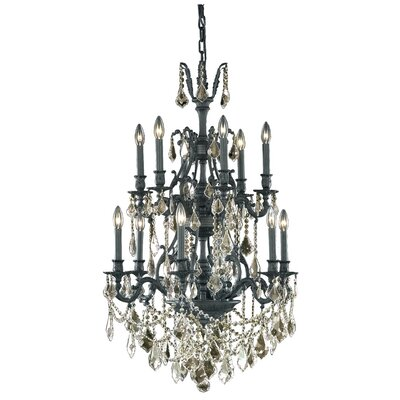 Almont 12-Light Crystal Chandelier Crystal Color / Crystal Trim: Golden Shadow (Champagne) / Strass Swarovski