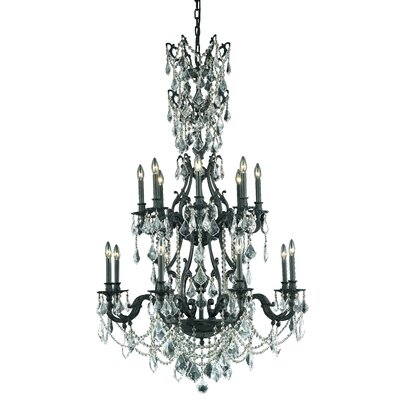 Almont 16-Light Crystal Chandelier Crystal Color / Crystal Trim: Golden Shadow (Champagne) / Strass Swarovski
