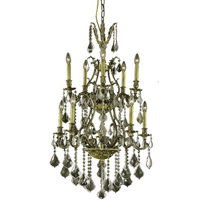 Almont 10-Light Crystal Chandelier Finish / Crystal Color / Crystal Trim: Antique Bronze / Champagne / Strass Swarovski