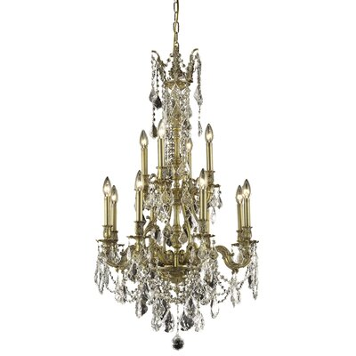 Almont 12-Light Crystal Chandelier Finish / Crystal Color / Crystal Trim: Antique Bronze / Clear / Spectra Swarovski