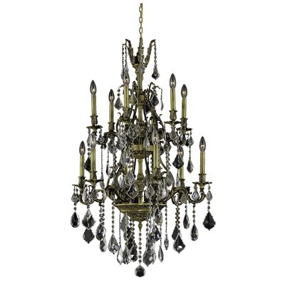 Almont 12-Light Crystal Chandelier Finish / Crystal Color / Crystal Trim: Antique Bronze / Crystal (Clear) / Elegant Cut