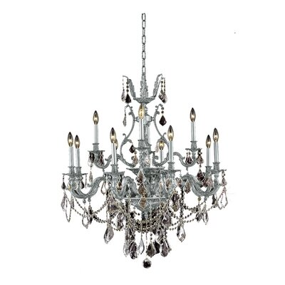 Almont 12-Light Crystal Chandelier Finish / Crystal Color / Crystal Trim: Pewter / Golden Teak (Smoky) / Strass Swarovski