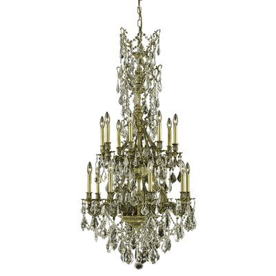 Almont 16-Light Crystal Chandelier Finish / Crystal Color / Crystal Trim: Antique Bronze / Crystal (Clear) / Elegant Cut