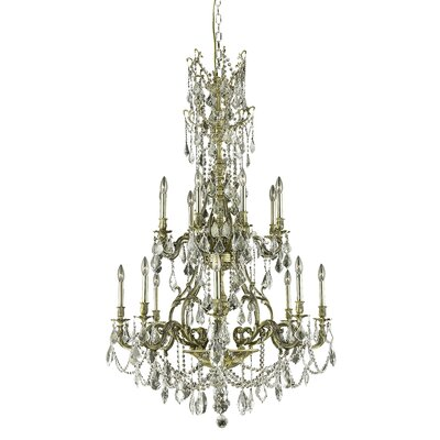 Almont 16-Light Crystal Chandelier Finish / Crystal Color / Crystal Trim: Antique Bronze / Clear / Spectra Swarovski