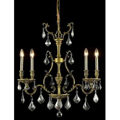 Almont 4-Light Candle-Style Chandelier Finish / Crystal Color / Crystal Trim: Antique Bronze / Silver Shade (Grey) / Royal Cut