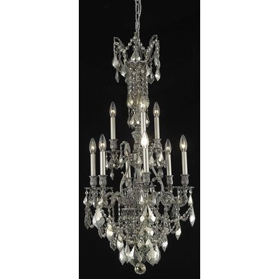 Almont 9-Light Candle-Style Chandelier Finish / Crystal Color / Crystal Trim: Antique Bronze / Grey / Strass Swarovski