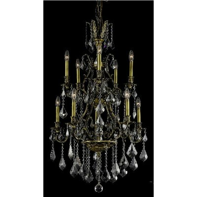 Almont 10-Light Candle-Style Chandelier Finish / Crystal Color / Crystal Trim: Antique Bronze / Grey / Strass Swarovski