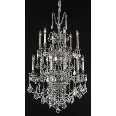 Almont 12-Light Candle-Style Chandelier Finish / Crystal Color / Crystal Trim: Antique Bronze / Silver Shade (Grey) / Royal Cut