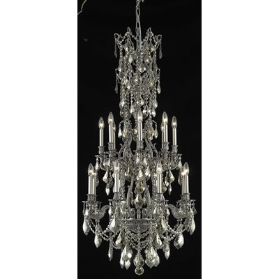 Almont 16-Light Candle-Style Chandelier Finish / Crystal Color / Crystal Trim: Antique Bronze / Silver Shade (Grey) / Royal Cut