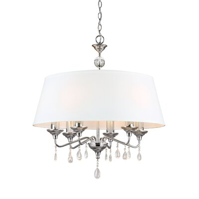 Riverina 6-Light Drum Chandelier Finish / Shade Color: Chrome / White