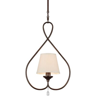 Riverina 1-Light Mini Pendant Finish / Shade Color: Burnt Sienna / Oatmeal, Bulb Type: Fluorescent