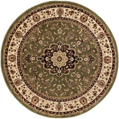 Belliere Medallion Green Area Rug Rug Size: Oval 53 x 610