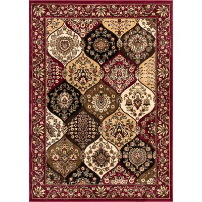 Vallarie Panel Red Area Rug Rug Size: Rectangle 53 x 73