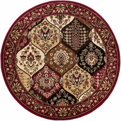 Vallarie Panel Red Area Rug Rug Size: Round 53