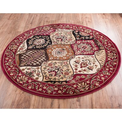 Panel Red Area Rug Rug Size: Round 5'3