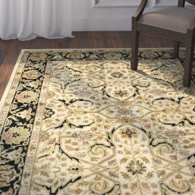 Balthrop Ivory/Black Area Rug Rug Size: Square 6