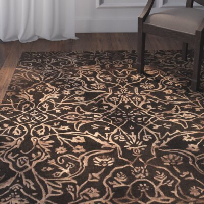 Barrell Brown/Light Brown Area Rug Rug Size: Rectangle 36 x 56