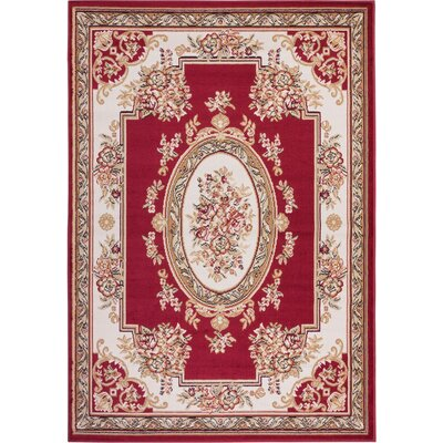 Coggrey Medallion Centre Red Area Rug Rug Size: 82 x 910