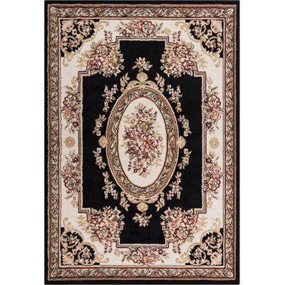 Coggrey Medallion Centre Black Area Rug Rug Size: 82 x 910