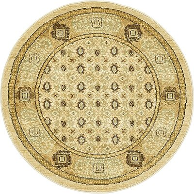 Laurelwood Cream Area Rug Rug Size: Round 33