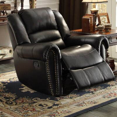 Medici Manual Glider Recliner Upholstery: Black
