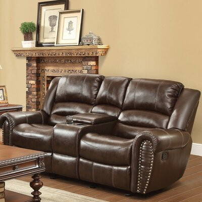 Medici Leather Reclining Sofa Upholstery: Brown
