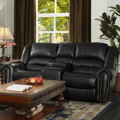 Medici Leather Sofa Upholstery: Black