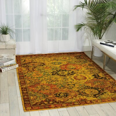 Charleson Gold/Ruby Area Rug Rug Size: 86 x 116