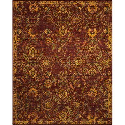 Charleson Pomegranate/Gold Area Rug Rug Size: 12 x 15