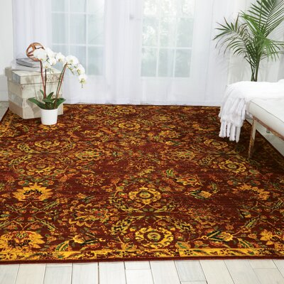Charleson Pomegranate/Gold Area Rug Rug Size: 86 x 116