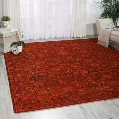 Charleson Red Area Rug Rug Size: 79 x 99