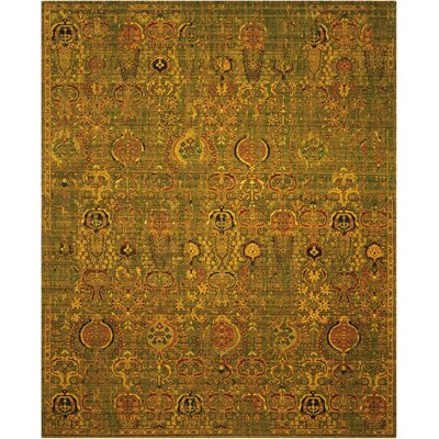 Charleson Green/Gold Area Rug Rug Size: Rectangle 56 x 8