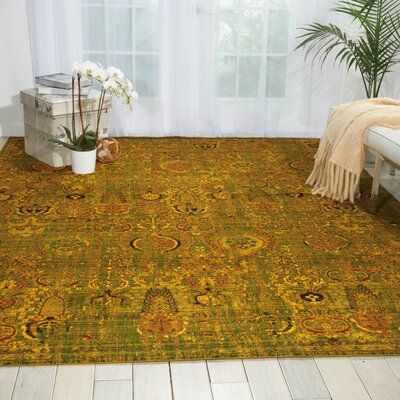Charleson Green/Gold Area Rug Rug Size: Rectangle 86 x 116