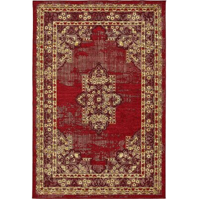 Jakeman Red Area Rug Rug Size: 7 x 10