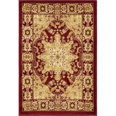 Onsted Red/Beige Area Rug Rug Size: 7 x 10