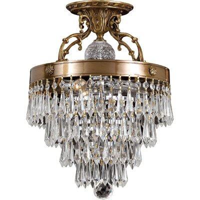 Markenfield Crystal 3-Light Semi Flush Mou