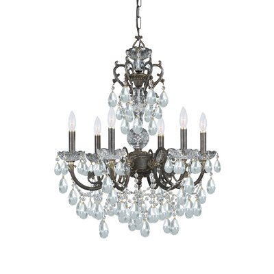 Markenfield 6-Light Crystal Chandelier Crystal Type: Majestic Wood Polished