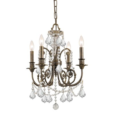 Markenfield 4-Light Crystal Chandelier Crystal Type: Clear Majestic Wood Polished
