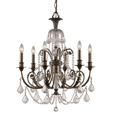 Markenfield 6-Light Crystal Chandelier Crystal Type: Clear Majestic Wood Polished