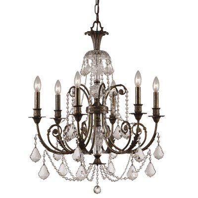 Markenfield 6-Light Crystal Chandelier Crystal Type: Clear Swarovski Strass