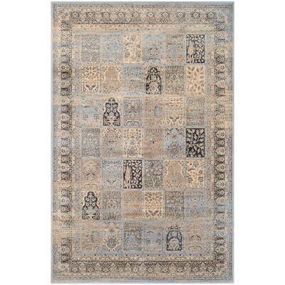 Cotswolds Column Panel Light Blue/Black Area Rug Rug Size: 92 x 125