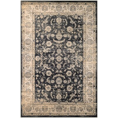 Cotswolds Floral Emblem Black/Oatmeal Area Rug Rug Size: Rectangle 31 x 53