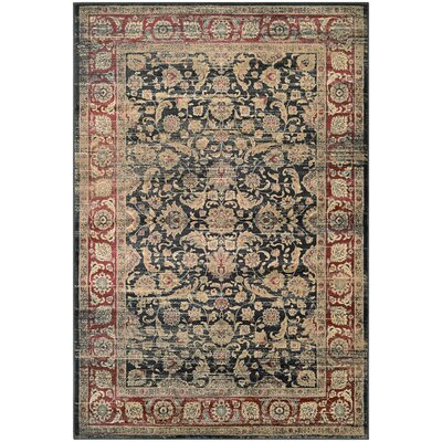 Cotswolds Black/Red Area Rug Rug Size: Rectangle 53 x 76