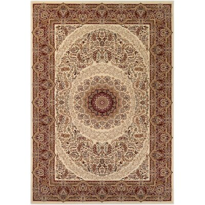 Hampstead Cream/Ruby Area Rug Rug Size: 5'3 x 7'6