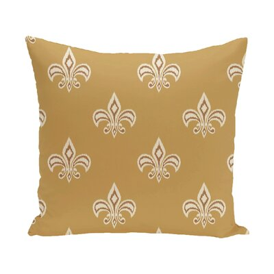 Carnbrock Fleur de Lis Ikat Print Throw Pillow Size: 18 H x 18 W, Color: Gold