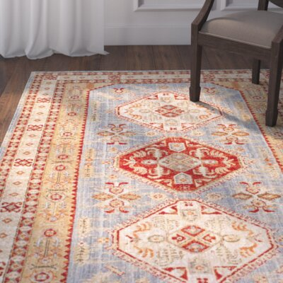 Ayre Light Blue/Orange Area Rug Rug Size: Rectangle 76 x 96
